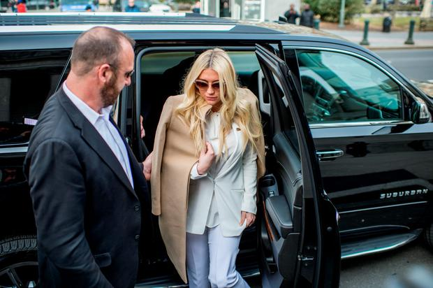 Kesha makes a court appearance as fans protest Sony Music Entertainment outside New York State Supreme Court on February 19, 2016 in New York City. Sony has refused to voluntarily release the pop star from her contract which requires her to make eight more albums with producer Dr. Luke, a man she claims sexually assaulted her. (Photo by Roy Rochlin/Getty Images)