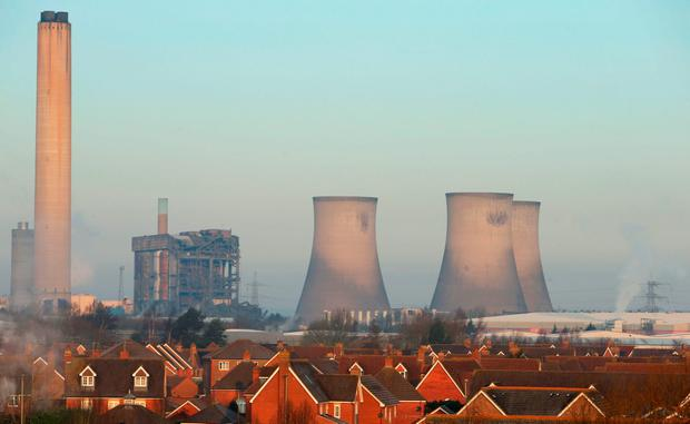 The scene at Didcot Power Station, Oxfordshire, after one person died and a major search operation was under way for three others after a building collapsed at the power station. Photo: Steve Parsons/PA Wire