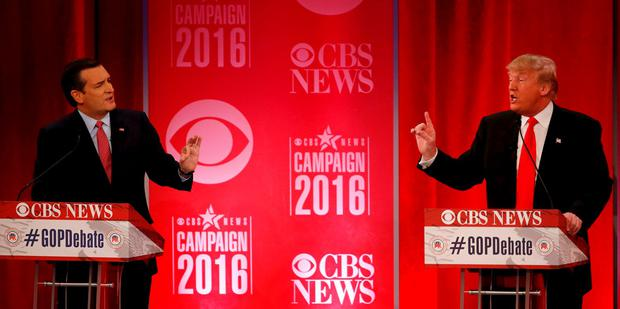 Republican U.S. presidential candidates Senator Ted Cruz (L) and businessman Donald Trump directly debate each other at the Republican U.S. presidential candidates debate sponsored by CBS News and the Republican National Committee in Greenville, South Carolina February 13, 2016. Reuters/Jonathan Ernst