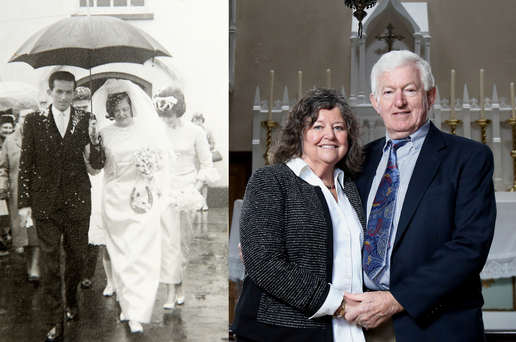 Laurence and Cecelia McCann on their wedding day, as the Northern Ireland couple have returned from the US to enjoy a special 50th anniversary at the church where they wed. PRESS ASSOCIATION Photo.