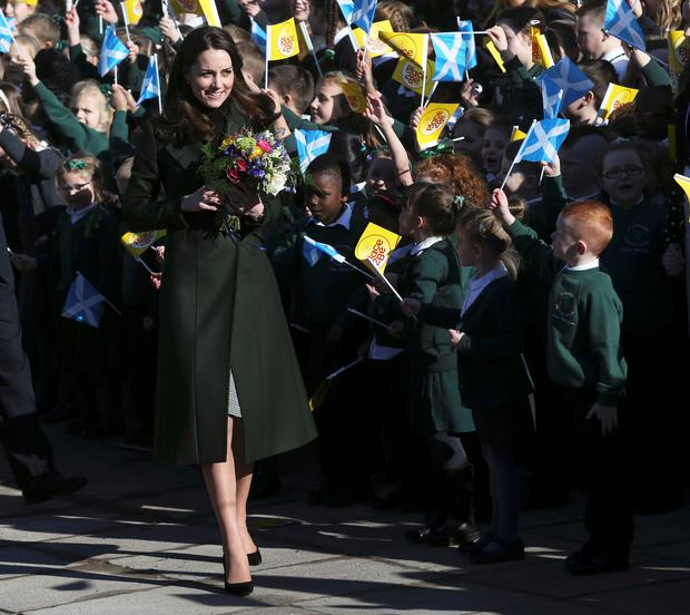 Britain's Catherine, Duchess of Cambridge, leaves after attending a for a Place2Be meeting at St Catherine's Primary School in Edinburgh, Scotland, Britain February 24, 2016. REUTERS/Russell Cheyne