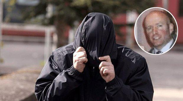 Anthony Kelleher covering his face at an earlier hearing, inset