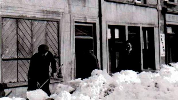 Clearing snow from Mullaney's, Boyle, February 1947