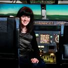 Deirdre Reynolds at the controls of a 737 Simulator at Simtech Aviation. Photo: Steve Humphreys.