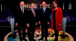 From left: Sinn Féin leader Gerry Adams, Taoiseach and Fine Gael leader Enda Kenny, Fianna Fáil leader Micheál Martin and Tánaiste and Labour leader Joan Burton before their final TV debate, on RTÉ's 'Prime Time'. Photo:Tony Maxwell/PA Wire