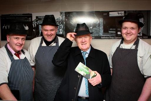 Liam, Edmund and Keith Walsh from Walsh's Butchers in Donegal town met Pat 'The Cope' Gallagher when he called in on his canvas of the area. Photo: Brian McDaid