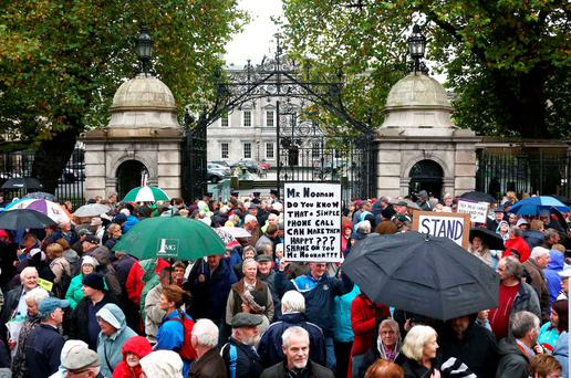 Grey vote: Pensioners protest outside the Dáil in 2013 against Budget cuts affecting the elderly. Photo: Collins