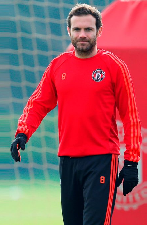 Manchester United forward Juan Mata trains ahead of tonight's Europa League last-32 second leg clash with Midtjylland: Jan Kruger/Getty Images