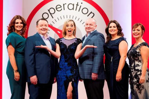 Kathryn Thomas at the Operation Transformation 2016 finale with leaders Lucy Dillon, John Conmy, Dan Kennedy (who had to withdraw from the show for medical reasons), Clare Scanlan and Noeleen Lynam. Photo: Andres Poveda