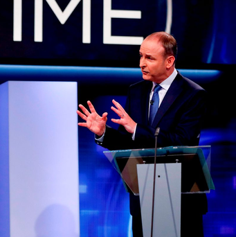 Fianna Fail Leader Micheal Martin during the last TV Debate on RTE Prime Time. Photo: Tony Maxwell/PA Wire