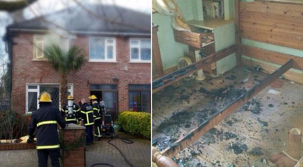 The fire began in the bedroom of this house