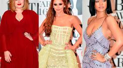 (L to R) Adele, Cheryl and Rihanna at the 2016 Brit Awards