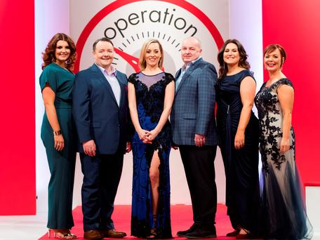 Kathryn Thomas pictured at the Operation Transformation 2016 finale filmed in RTÉ this week with leaders Lucy Dillon, John Conmy, Dan Kennedy, Clare Scanlan and Noeleen Lynam. Picture Andres Poveda
