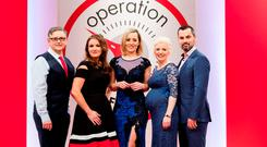 Pictured at the Operation Transformation 2016 finale - Dr Eddie Murphy, Dr Ciara Kelly, Kathryn Thomas, Aoife Hearne and Karl Henry. Picture Andres Poveda
