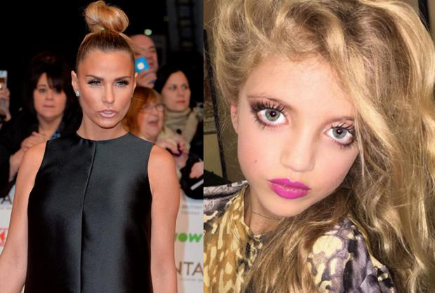 Katie Price (left) and daughter Princess (right)
