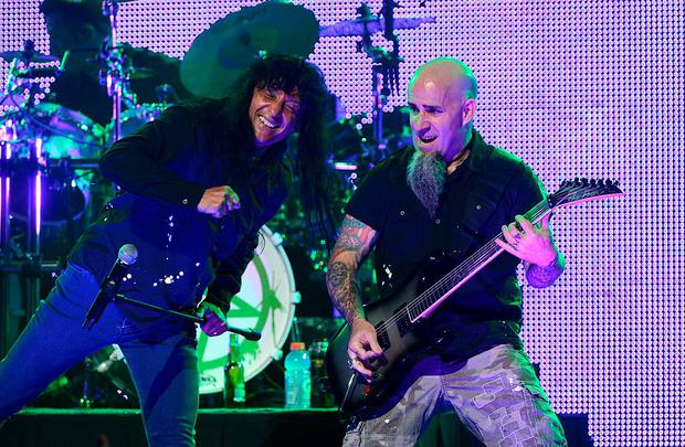 LOS ANGELES, CA - MAY 02: Anthrax (L-R) Joey Belladonna and Scott Ian perform at the 5th Annual Revolver Golden Gods Award Show at Club Nokia on May 2, 2013 in Los Angeles, California. (Photo by Frazer Harrison/Getty Images)