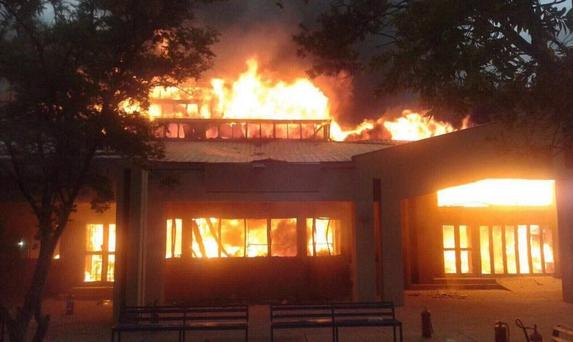 An administration block that included a science centre was burned down
