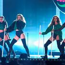 Little Mix perform on stage during the BRIT Awards 2016 on February 24, 2016 in London, England. (Photo by Ian Gavan/Getty Images)