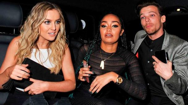 Louis Tomlinson, Leigh Anne Pinnock and Perrie Edwards party in London. Picture: Fame Flynet UK