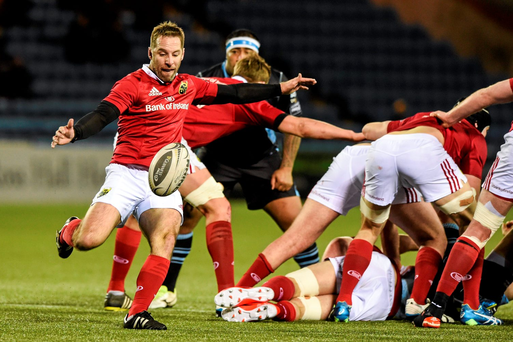 Munster's Tomas O'Leary clears his lines during the Pro12 clash against Glasgow. Photo: Ross Parker/Sportsfile