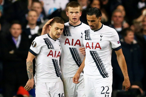 Kieran Trippier, Eric Dier and Nacer Chadli celebrates after Fiorentina's Gonzalo Rodriguez scored an own goal and the third goal for Tottenham. Action Images via Reuters / Matthew Childs