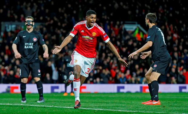 Marcus Rashford celebrates scoring the second goal for Manchester United. Photo: Russell Cheyne/ Reuters.