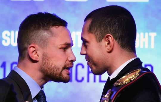 Carl Frampton and Scott Quigg exchange heated words during the WBA and IBF super-bantamweight press conference in Belfast (Charles McQuillan/Getty Images)