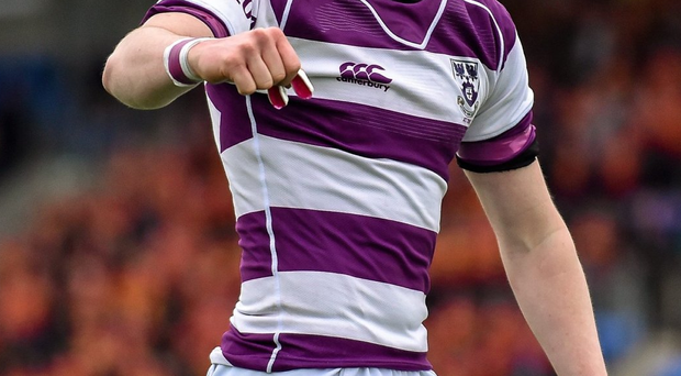 Clongowes Wood College's John Maher ran in three tries saw to take his side to the Leinster Schools Junior Cup semi-final.. Photo: Cody Glenn / Sportsfile