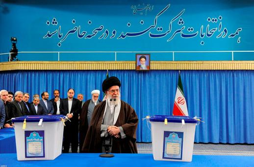 Iran's Supreme Leader Ayatollah Ali Khamenei speaks after casting his vote during elections for the parliament and Assembly of Experts, which has the power to appoint and dismiss the supreme leader, in Tehran