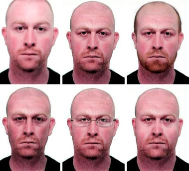 Photos issued by Merseyside Police of Kevin Parle with age progression photographs (top row left right) original, average age, hair loss (bottom row left to right) underweight, glasses and overweight, of what the suspected killer may look like today, as Parle, who is wanted for questioning over two murders, may be in Australia.