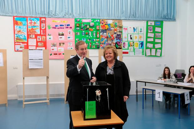Enda Kenny at the polling station in Castlebar (Photo: Gerry Mooney)
