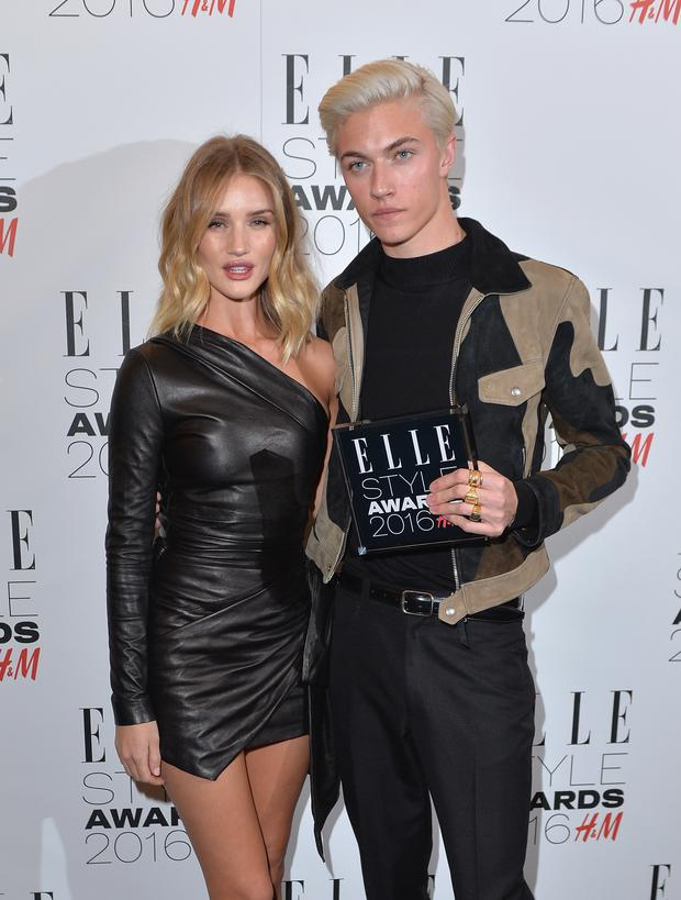 Lucky Blue Smith and Rosie Huntington-Whiteley at the Elle Style Awards.