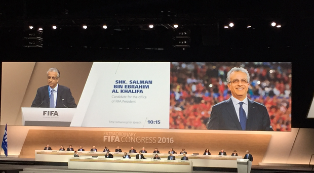 FIFA President candidate Salman Bin Ibrahim Al-Khalifa on the giant screen during the 2016 FIFA Congress, Zurich. PRESS ASSOCIATION Photo. Picture date: Friday February 26, 2016. See PA story SOCCER FIFA. Photo credit should read: Matt McGeehan/PA Wire.