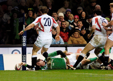 Shane Horgan touches down the ball to score Ireland's last-minute try against England at Twickenham in 2006. Photo: Brian Lawless/Sportsfile