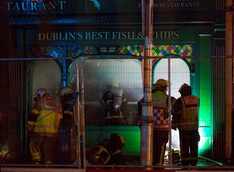 Dublin Fire Brigade at the scene of a fire at the Kingfisher Townhouse & Restaurant opposite the Rotunda Hospital tonight Credit: Fergal Phillips