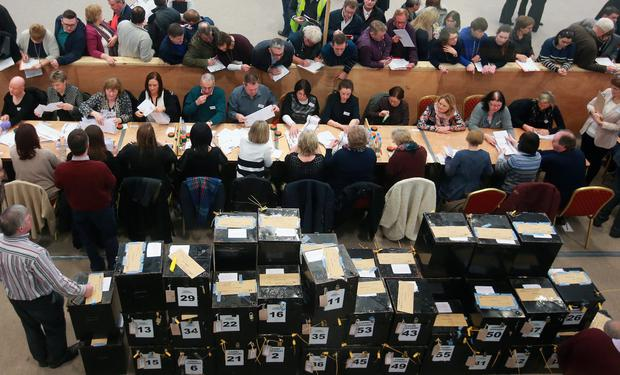 Counting of the General election ballot papers for Tipperary, at the Presentation Secondary School in Thurles. Photo: Frank Mc Grath