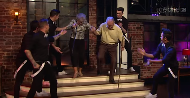 The Late Late show featured a performance by Irish group 'Jiggy'