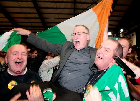 Sinn Fein's Dessie Ellis celebrates with supporters at the count in the RDS yesterday. Picture: Tom Burke