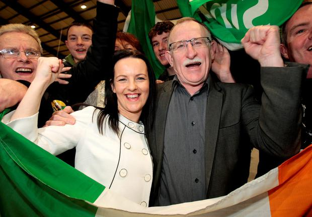 Sinn Fein's Dessie Ellis and Cathleen Carney-Boud from Dublin North-West celebrate with supporters at the count in the RDS yesterday. Picture:Tom Burke