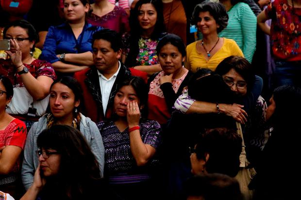 People react after a verdict was given in the Sepur Zarco case in Guatemala City, Guatemala, February 26, 2016.