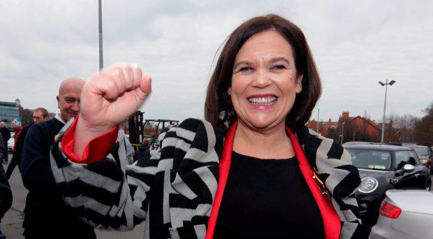 Sein Fein deputy leader, Mary Lou McDonald arrives at the RDS count centre