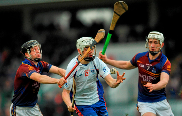 David Reidy, Mary Immaculate College Limerick, in action against Jack Browne, left and Brian Stapleton, right, University of Limerick. Independent.ie Fitzgibbon Cup Final, Mary Immaculate College Limerick v University of Limerick, Cork IT, Cork. Picture credit: Eóin Noonan / SPORTSFILE