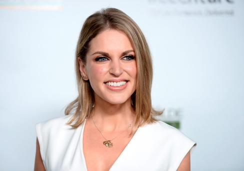 Actress Amy Huberman arrives at the 2016 Oscar Wilde Awards at Bad Robot on February 25, 2016 in Santa Monica, California. (Photo by Amanda Edwards/WireImage)