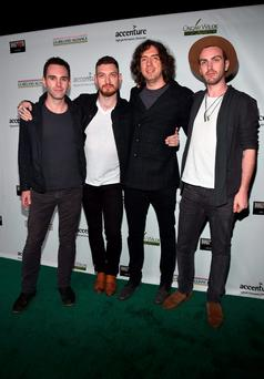 (L-R) Musicians Johnny McDaid, Nathan Connolly, Gary Lightbody and Paul Wilson of Snow Patrol attend the Oscar Wilde Awards 2016 at Bad Robot on February 25, 2016 in Santa Monica, California. (Photo by Alberto E. Rodriguez/Getty Images for US-Ireland Alliance)