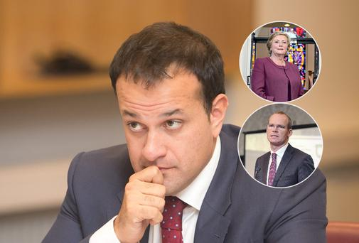 Leo Varadkar with inset, Ministers Frances Fitzgerald and Simon Coveney