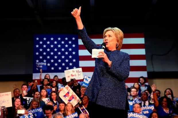 Democratic presidential candidate former Secretary of State Hillary Clinton speaks during a