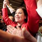 Sinn Fein's Mary Lou McDonald following her election in Dublin Central Credit: Tom Burke