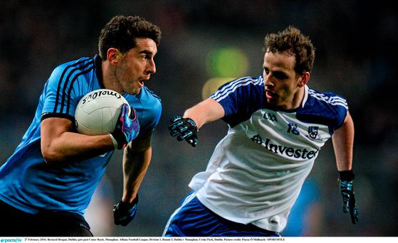 Bernard Brogan, Dublin, gets past Conor Boyle, Monaghan
