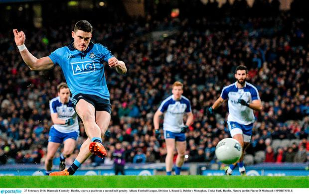 Diarmuid Connolly, Dublin, scores a goal from a second half penalty