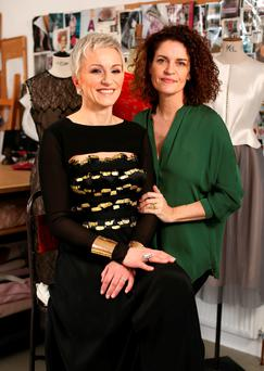 Glammed up: Monika Abrahamson - in the dress she will be wearing to the Oscars - with Dublin designer Helen Cody